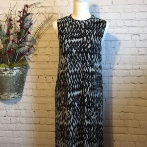 KENSIE Black and Grey Print Tunic Jersey Dress L
